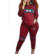 Leisure Hooded Collar Pocket Design Printed Red Polyester Two-Piece Pants Set