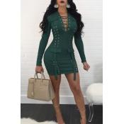 Sexy V-Ausschnitt Bandage Design Dunkelgrün Polyester Minikleid