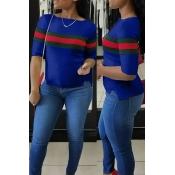 T-shirt In Cotone Blu A Patchwork A Girocollo A Righe Casual