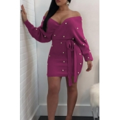 Sexy V Neck Backless Pearl Decoration Purple Polyester Mini Bodycon Dress(With Belt)