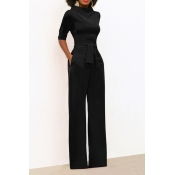 Chic Turtleneck Half Sleeves Black Polyester One-piece Jumpsuits(With Belt)
