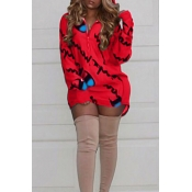 Casual Mit Kapuze Kragen Buchstaben Gedruckt Roten Polyester-Minikleid