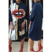 Casaco Redondo Redondo Impresso Lantejoulas Decoração Royalblue Poliéster Meia Veste Vestido