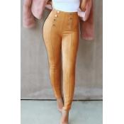 Fashion High Elastic Waist Khaki Polyester Pants