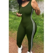 Leisure U-shaped Neck Sleeveless Patchwork Army Green Qmilch One-piece Skinny Jumpsuits