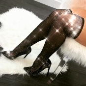 Trendy Diamante Decorative Black Velvet Stockings