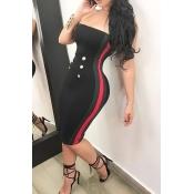 Sexy Bateau Cuello Botón Decorativo Rayas Negro Poliéster Hasta La Rodilla Vestido