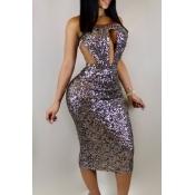 Vintage Bateau Neck Sequins Decoration Hollow-out Purple Polyester Mid Calf Dress