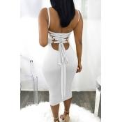 Sexy Cuello Cuadrado Sin Espalda Con Cordones De Poliéster Blanco Vestido De Media Pantorrilla