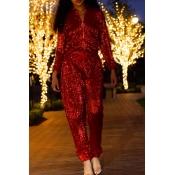 Fashion Mandarin Collar Sequins Decoration Red Pol