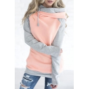 Lovely Leisure Hooded Collar Patchwork Pink Blendi