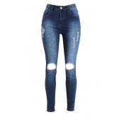 Fashion Mid Waist Broken Holes Blue Denim Zipped J