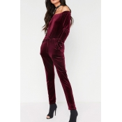 Stylish Dew Shoulder High Waist Red Velvet One-pie