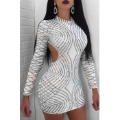 Sexy Round Neck Back Hollow-out Sequins Decoration White Polyester Sheath Mini Dress