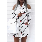 Euramerican Hooded Collar Cold-shoulder Letters Printed White Polyester Mini Dress(Non Positioning Printing)