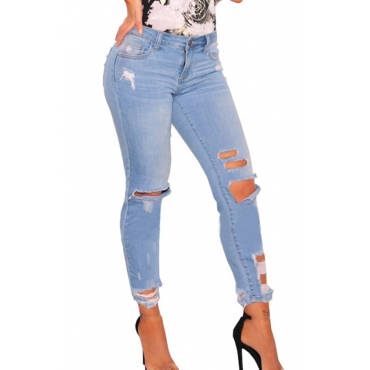 Trendy Mid Waist Broken Holes Baby Blue Denim Pants