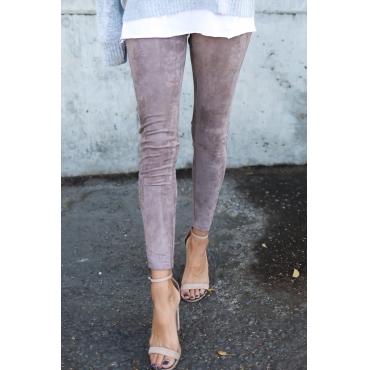 Lovely Leisure Mid Waist Zipper Design Purple Blending Leggings