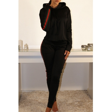 Casual Hooded Collar Striped Patchwork Black Blending Two-Piece Pants Set