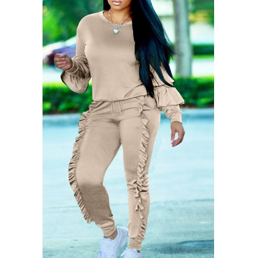 Fashionable Round Neck Ruched Grey Blending Two-piece Pants Set