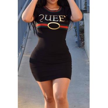 Letras De Cuello Redondo Sexy Impreso Mini Vestido De Poliéster Negro