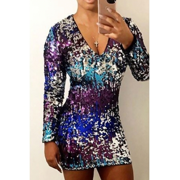 Sexy V Neck Gradient Sequined Decorative Polyester Sheath Mini Dress