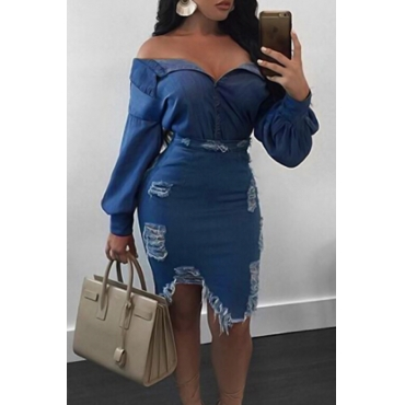 Sexy Turndown Collar Broken Holes Torn Edges Blue Denim Two-piece Skirt Set