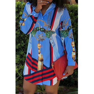 Euramerican Turndown Collar Printed Blue Polyester Mini Shirt Dress