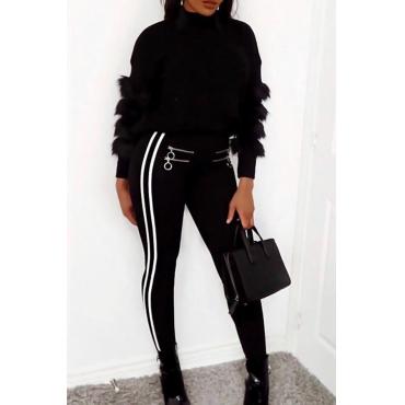 Fashionable High Elastic Waist Zipper Design Black Blending Pants