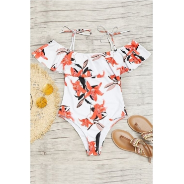 Sexy Floral Printed White Polyester Teddy Swimwear