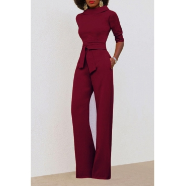 Chic Turtleneck Half Sleeves Wine Red Polyester One-piece Jumpsuits(With Belt)