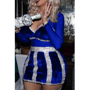 Sexy V Neck See-Through Royalblue Polyester Mini Dress