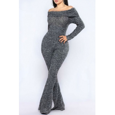 Euramerican Bateau Neck Trumpet Design Grey Cotton Blends One-piece Jumpsuits