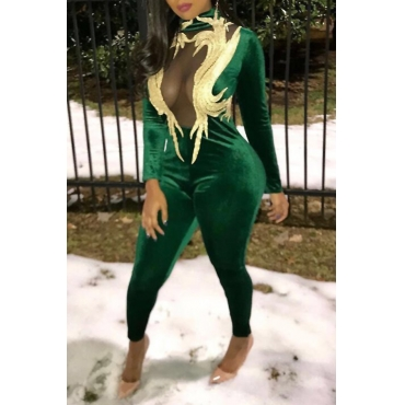 Euramerican Turtleneck Patchwork Chest See-Through Green Velvet One-piece Jumpsuits