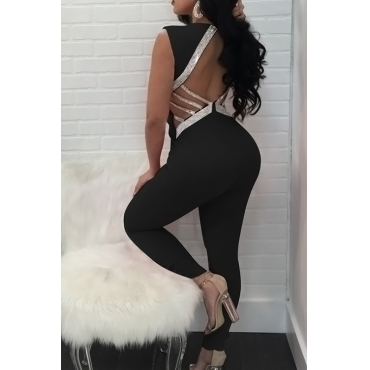 Sexy V Neck Hollow-out Black Polyester One-piece Jumpsuits