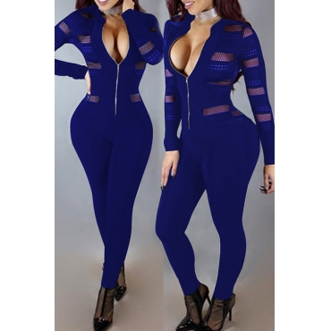 Sexy Round Neck Long Sleeves Gauze Patchwork Deep Blue Polyester One-piece Skinny Jumpsuits