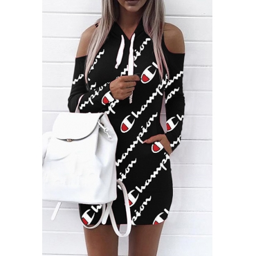 Euramerican Hooded Collar Cold-shoulder Letters Printed Black Polyester Mini Dress(Non Positioning Printing)