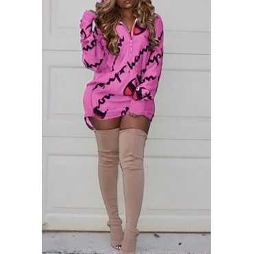Casual Hooded Collar Letters Printed Pink Polyester Mini Dress