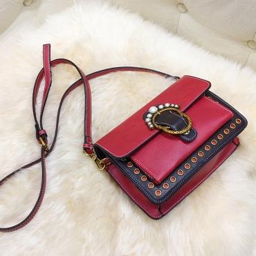 Fashion Pearl Decorative Red Leather Crossbody Bag