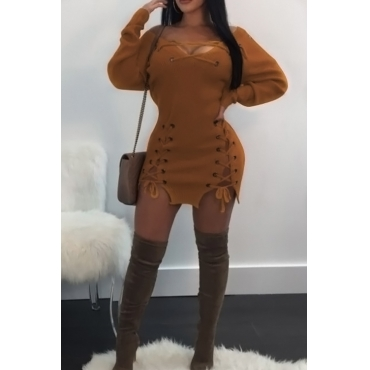 Sexy V Neck Eyelets Design Lace-up Yellow Polyester Mini Dress
