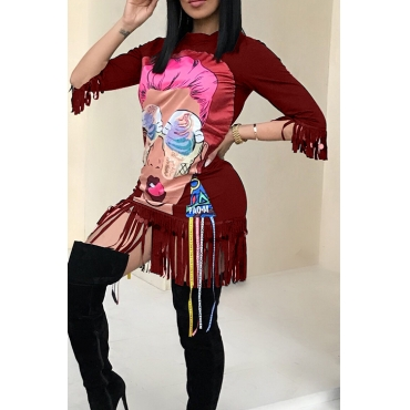 Casual Round Neck Cartoon Characters Printed Tassel Fringed Wine Red Cotton Blend Mini Dress