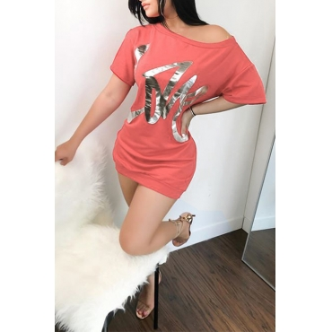 Casual Sloping Shoulder Letters Of Hot Stamping Red Cotton Blend Mini Dress