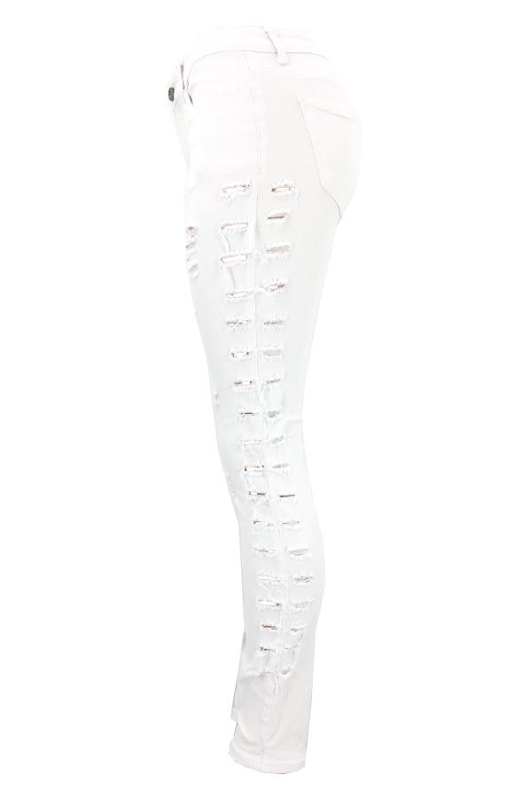 Moda Cintura Media Agujeros Rotos Mezclilla Blanco Jeans Con Cremallera
