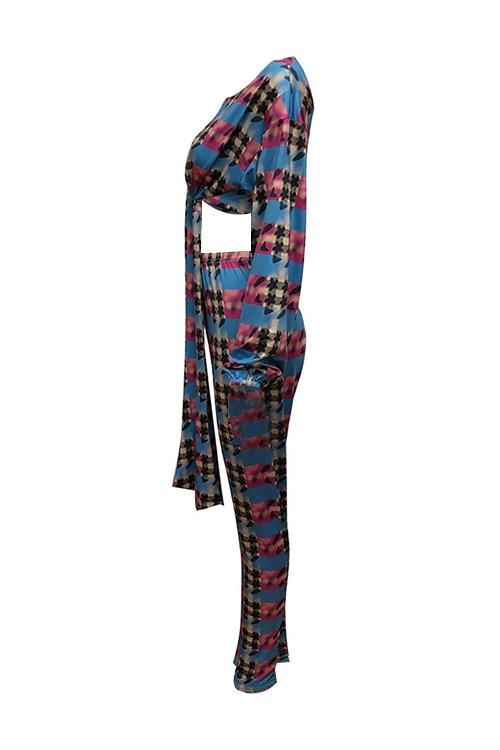 Mode Rundhals Knoten Design Gedruckt Multi Qmilch Zweiteilige Hosen Set