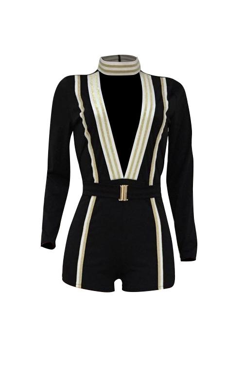 Stylish Deep V Neck Patchwork Black Cotton Blends One-piece Short Jumpsuits