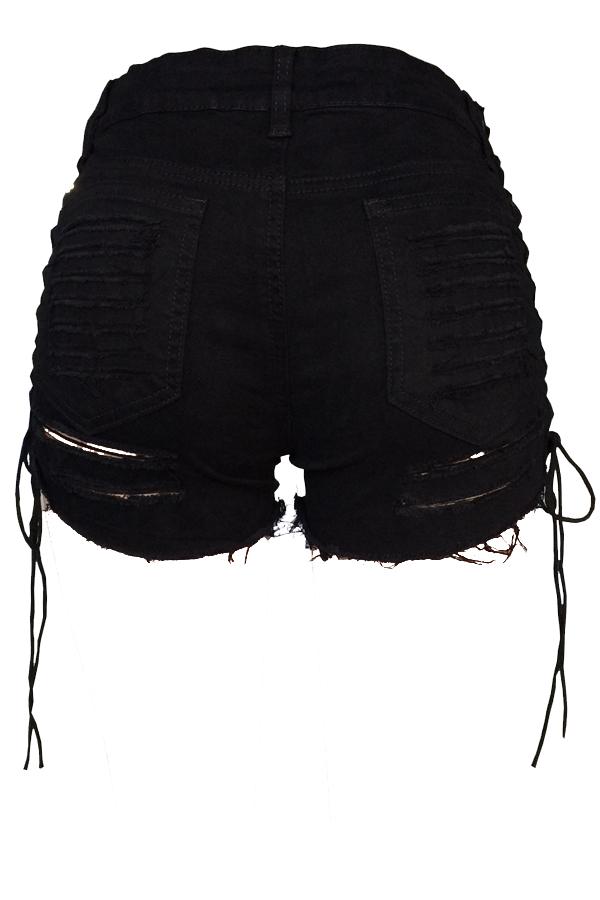 Casual Mid Waist Broken Holes Lace-up Black Denim Zipped Shorts