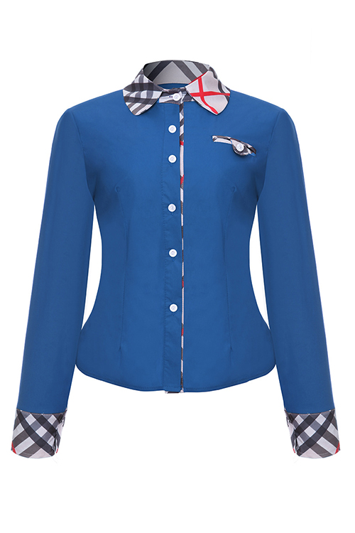 Fashion Turndown Collar Patchwork Single Breasted Blue Polyester Shirts