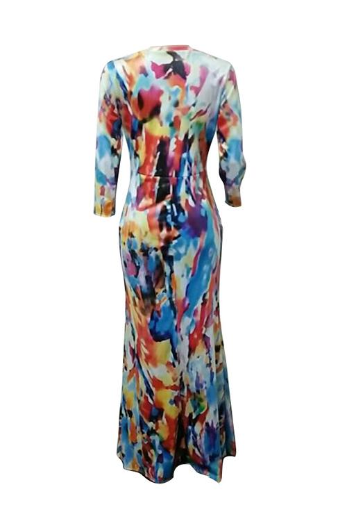 Lovely Vintage Deep V Neck Printed Milk Fiber Ankle Length Dress(Without Belt)