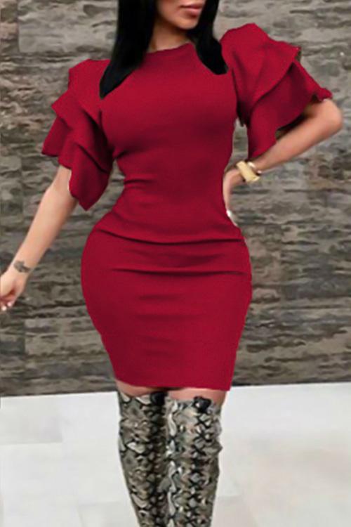 Sexy Rundhalsausschnitt Mit Rüschenärmeln Weinrotes Knielanges Kleid Aus Polyester
