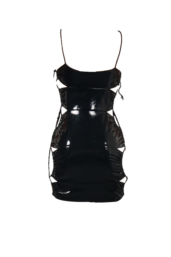 Sexy Sleeveless Lace-up Hollow-out Black PU Mini Dress