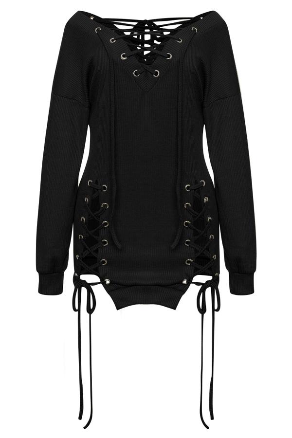 Diseño De Ojeteador Con Cuello En V Sexy Mini Vestido De Poliéster Negro Con Cordones